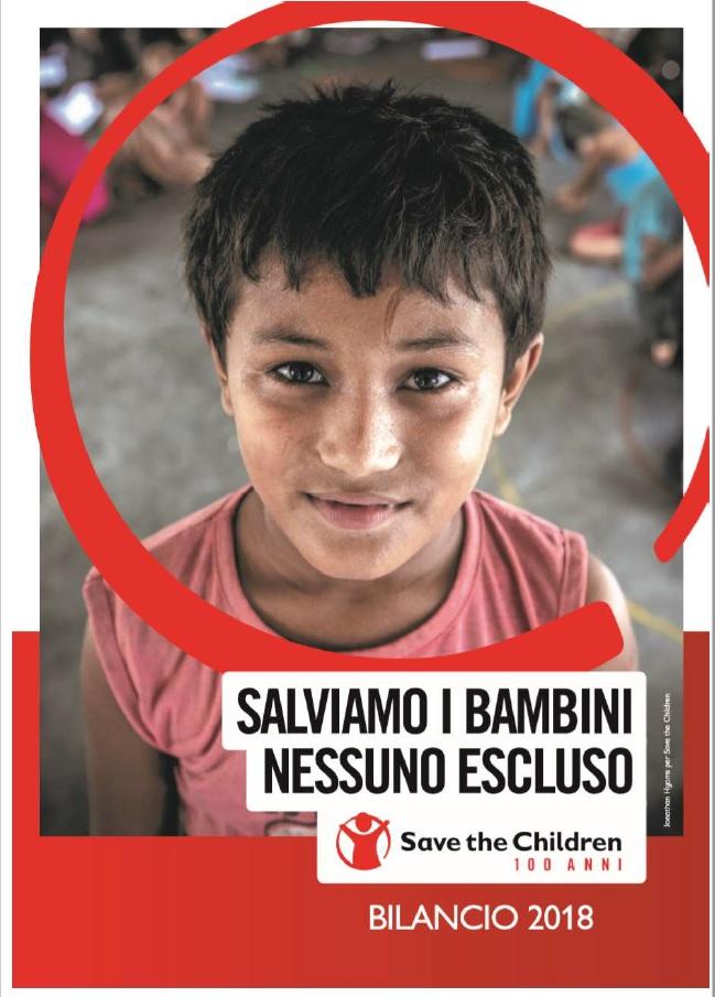 copertina della versione digitale del bilancio 2018 di Save the Children Italia