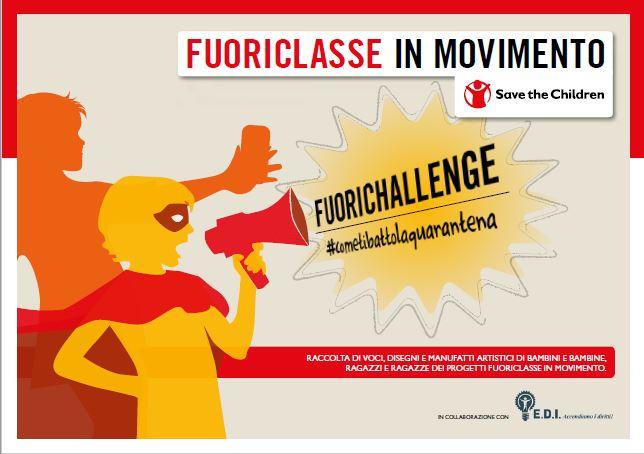copertina dai colori giallo, grigio e rosso della pubblicazione dal titolo fuori challenge di Fuoriclasse in movimento per Save the Children Italia