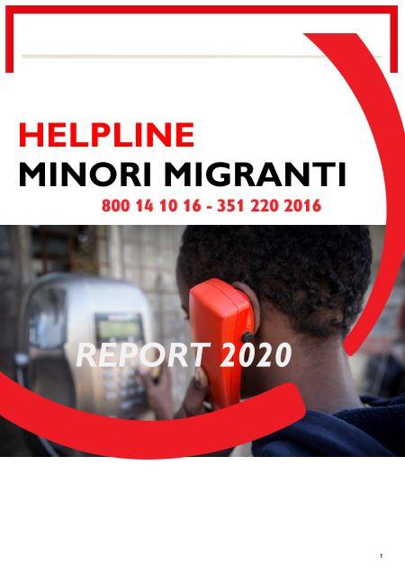 Copertina del report Helpline Minori Migranti - Report 2020