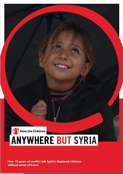 """copertina del report """"ovunque ma non in Siria"""" con una bambina sullo sfondo"""