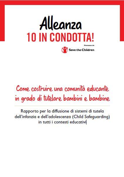 copertina del report di save the children Italia 10 in condotta, sfondo bianco e testi neri e rossi