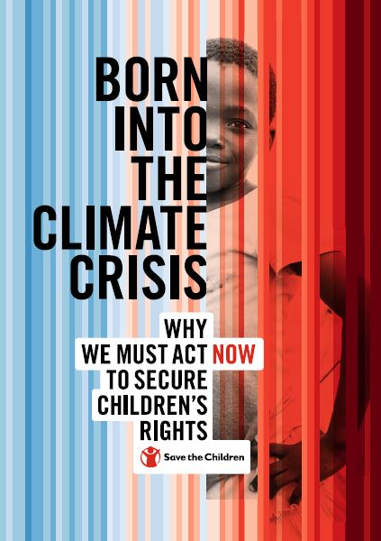 copertina report Born into climate crisis di Save the Children Italia, sfondo che va dal tono azzurro al rosso con dietro i colori un bambino