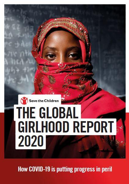 copertina del report dal titolo 'the global girlhood report 2020' con una foto di sfondo che ritrae una ragazza velata con vestito rosso