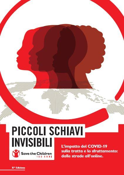 copertina in grafica bianco e rossa del rapporto piccoli schiavi invisibili 2020