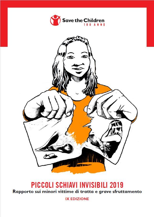 la copertina del report piccoli schiavi invisibili con una graphic novel rappresentativa