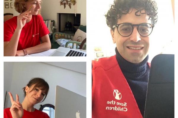 collage di 3 foto di 3 volontari Save the Children Italia davanti al PC