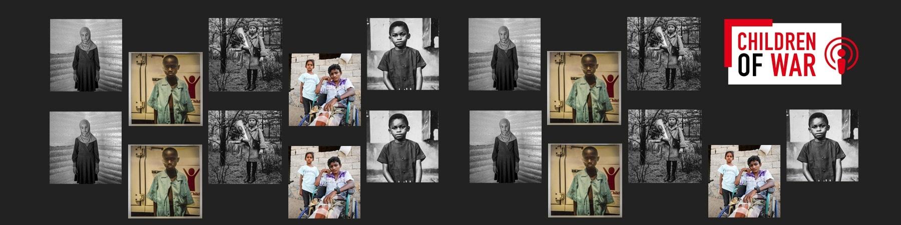 collage su sfondo nero di foto di bambini a colori e in bianco e nero di diverse nazionalità.
