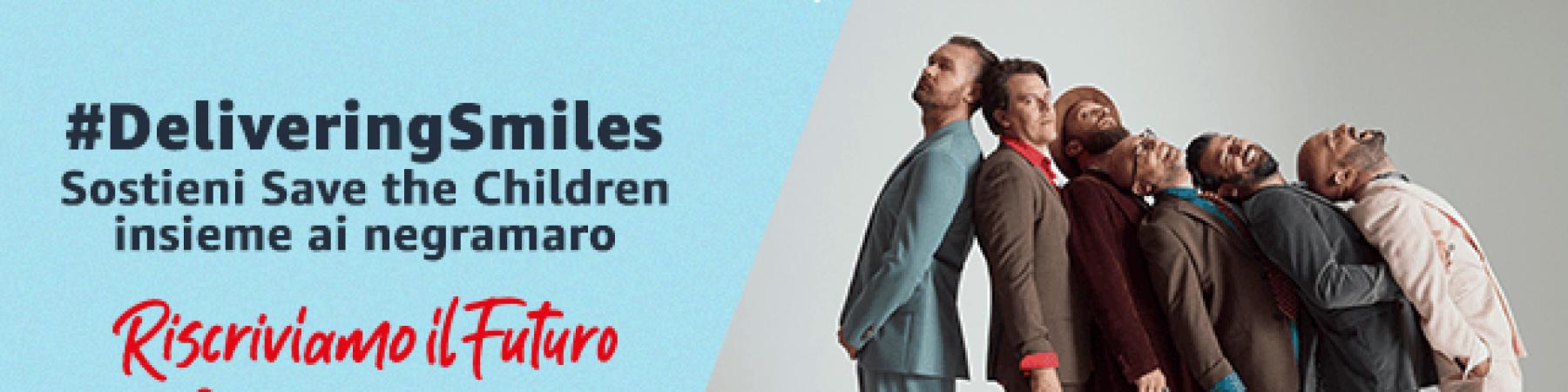 Grafica amazon per annunciare il sostegno a Save the Children in occasione del periodo natalizio 2020. I negramaro ambassador dell iniziativa sono in fila vicini