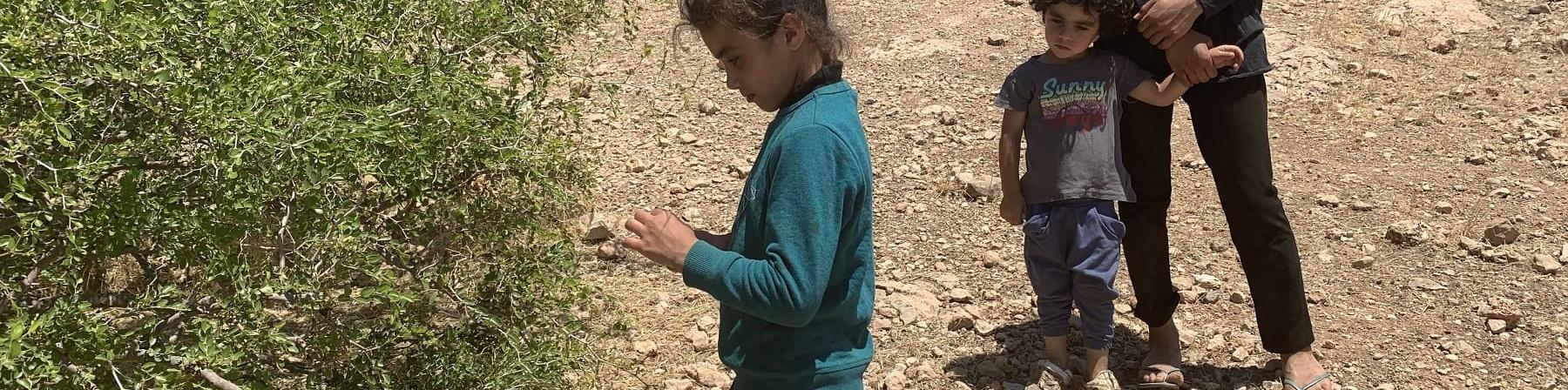 Una bambina in piedi davanti a un cespuglio lo osserva, dietro di lei una ragazza in pedi tiene per mano un altra bambina