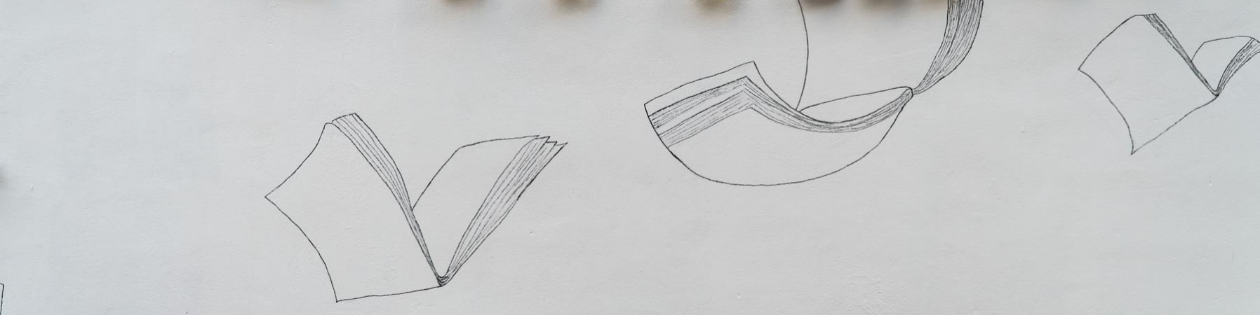 Parete bianca sui cui sono disegnati libri con le ali