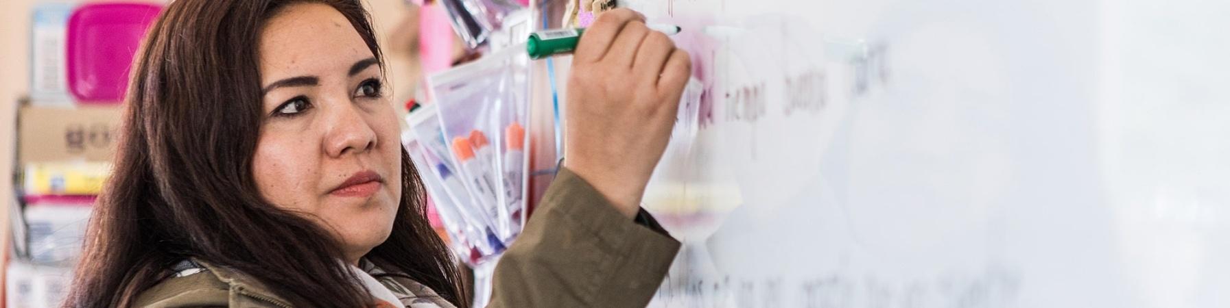 insegnante scrive alla lavagna con un pennarello in aula