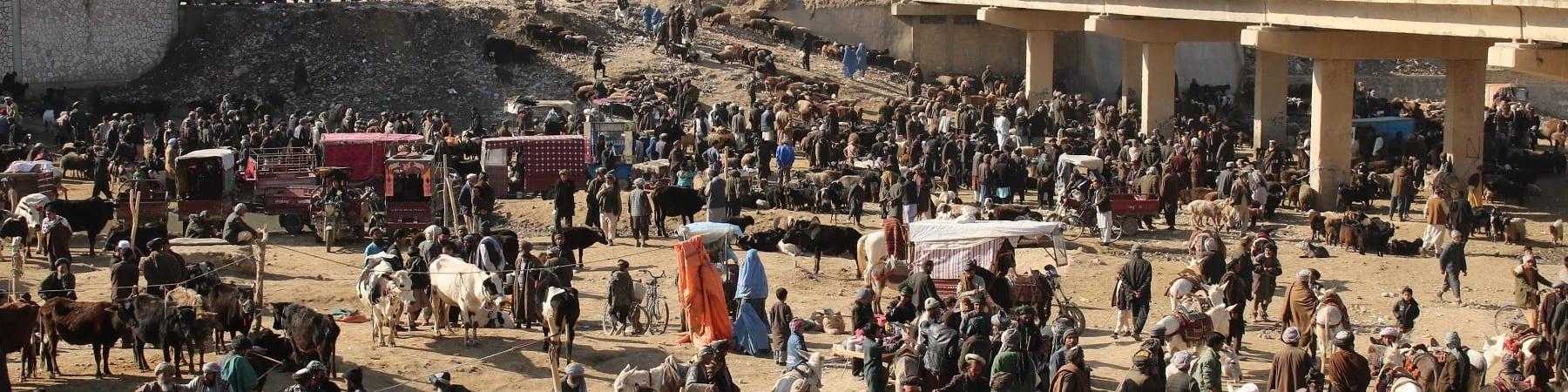 Scena di un mercato in Afghanistan con molte persone inquadrate dall'alto