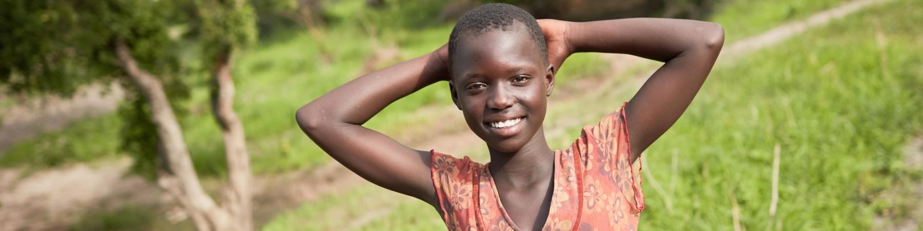 Sofia, rifugiata sudsudanese in Uganda, ha beneficiato dei progetti di educazione
