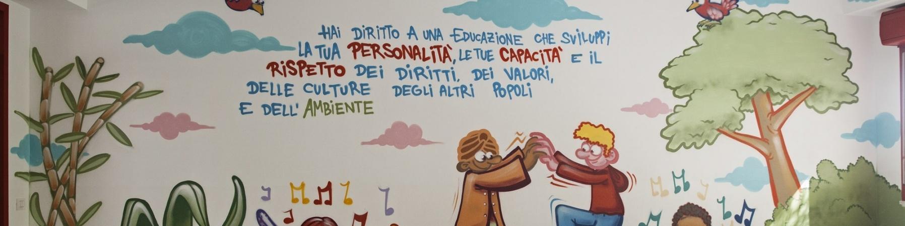 aula di una scuola molto colorata con disegni e scritte sui muri