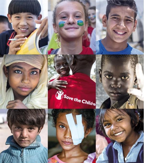 collage di 9 foto di bambini di diverse nazionalità