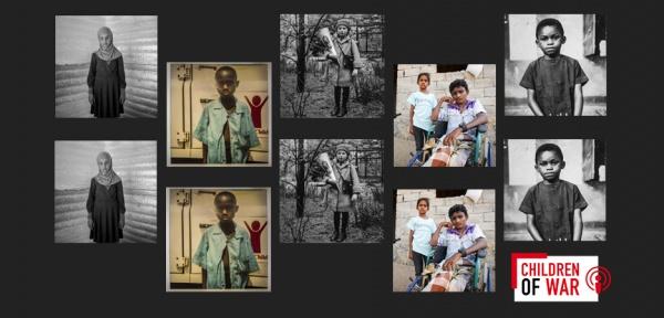 collage di foto di bambini su sfondo nero