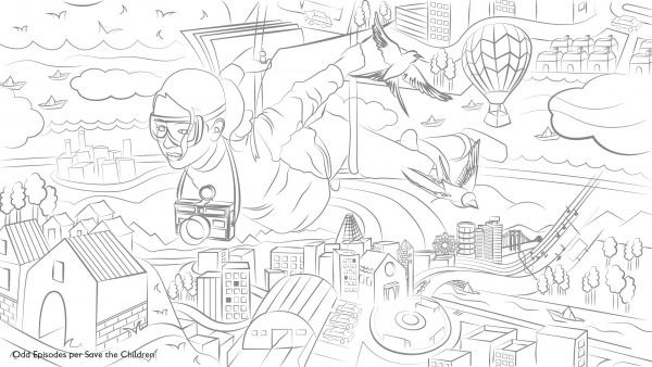 disegno in bianco e nero di una ragazze che vola sul mondo