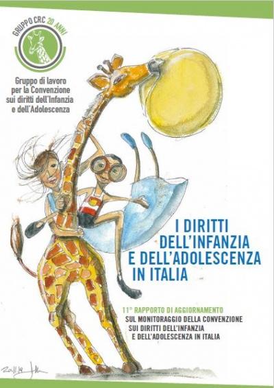 copertina dell'11° rapporto di monitoraggio della CRC con un disegno in sfondo che ritrae una giraffa che gioca con due bambini
