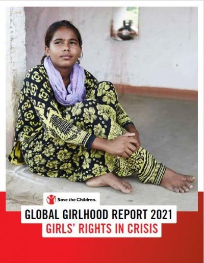 copertina del global girlhood report con una donna sullo sfondo