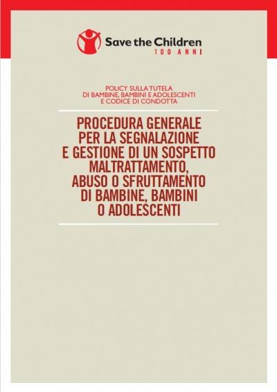 Copertina della procedura generale segnalazioni abuso sfruttamento