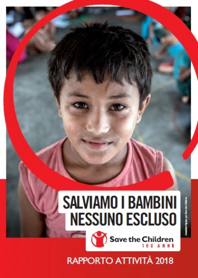 la copertina della pubblicazione rapporto attività 2018 di Save the Children Italia