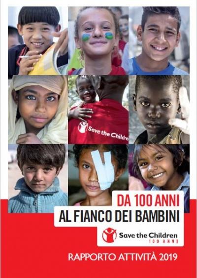 copertina rapporto attività 2019 con collage di tanti bambini nel mondo
