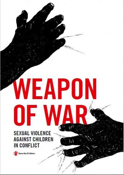 copertina del report arma di guerra sfondo bianco con disegnate delle mani nere con il titolo in rosso