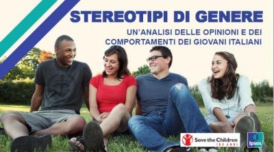 due ragazzi e due ragazze seduti su un prato conversano tra loro, questo lo sfondo della copertina della ricerca IPSOS per Save the Children Italia sugli stereotipi di genere