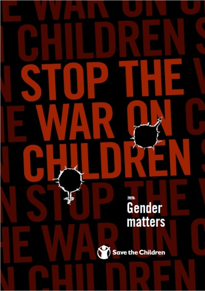 copertina sfondo nero scritta rossa del terzo rapporto stop the war on children