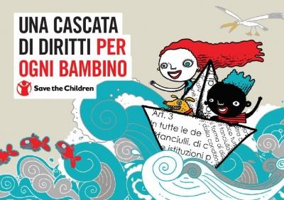 copertina con illustrazione colorata di due bambini su una barchetta di carta nel mare per la pubblicazione dal titolo una cascata di diritti per ogni bambino