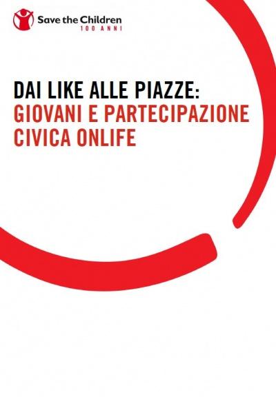 """Copertina della ricerca """"Dai like alle piazze. Giovani e partecipazione civica onlife""""."""
