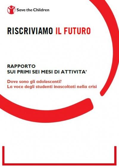 copertina bianca, nero e rossa del report Riscriviamo il futuro 6 mesi attività