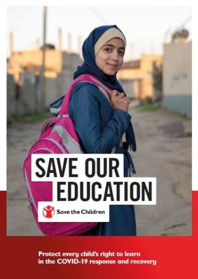 copertina save our education report con ragazza con velo con zaino rosa