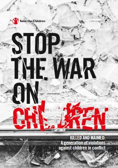 copertina del report stop the war on children sfondo grigio