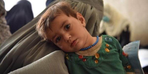 bambino afghano di due anni con camicia verde guarda in camera