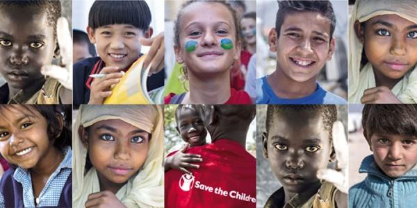 collage di foto di bambini di diverse nazionalità