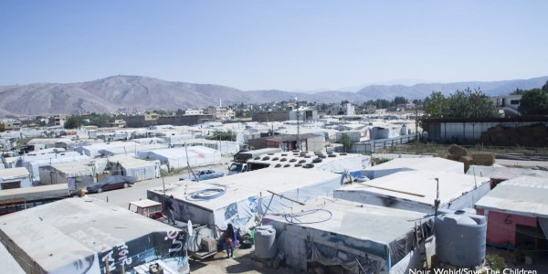 Campo profughi ripreso dall'alto in Libano
