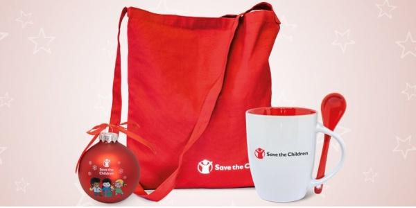 shop bag rossa, tazza bianco e rossa e pallina di natale di save the children