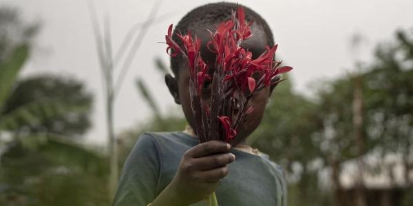 un bambino al centro della foto con maglietta a maniche corte grigia tiene in mano davanti al viso, in modo da coprirsi, un mazzolino di fiori rossi.